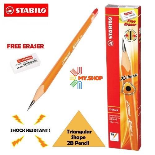 Stabilo X-Shock Triangular 2B Pencil (12 Pcs) 286/12 free Eraser 1pc