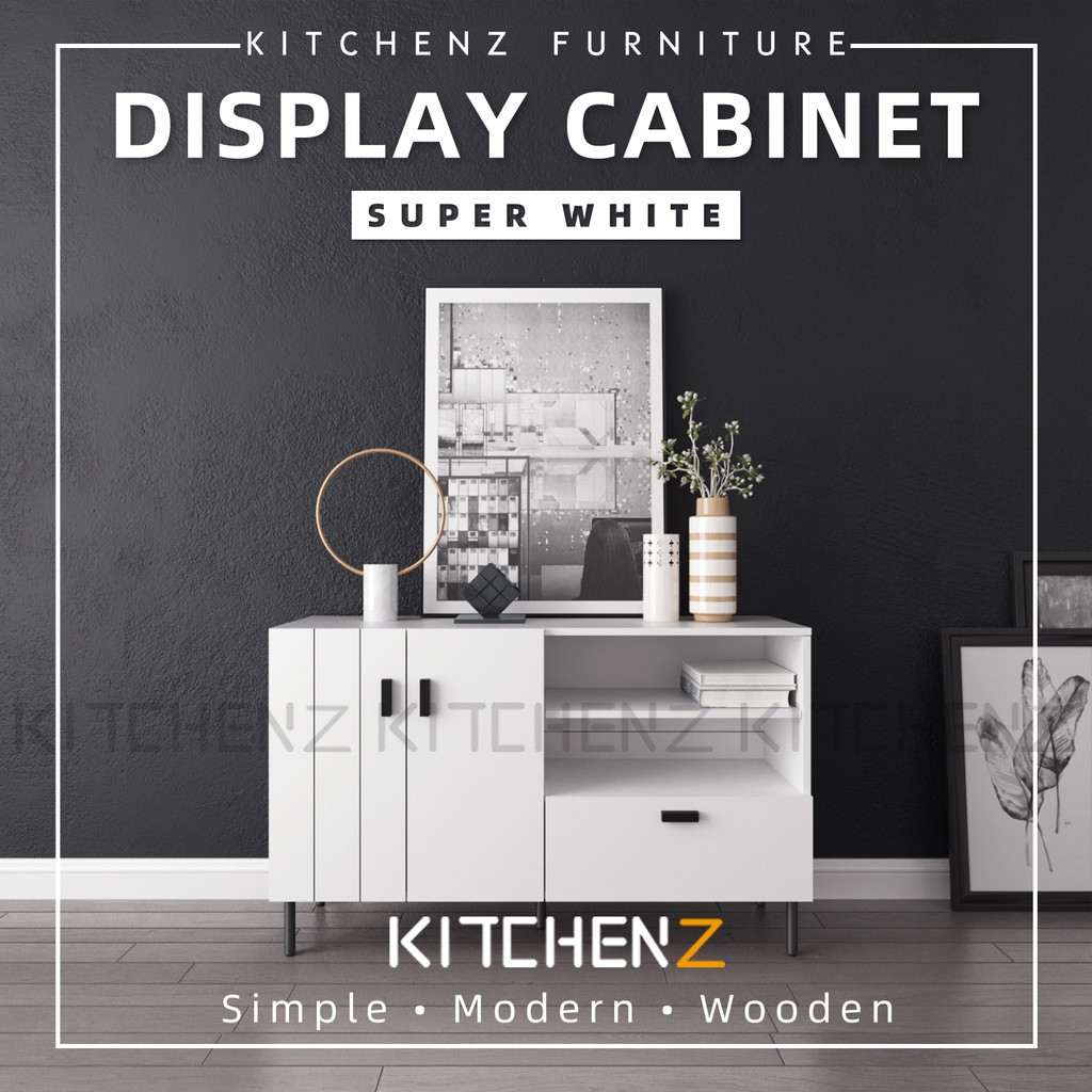 Kitchen Z 4FT Jasmine Series Ecomate Jasmine Display Cabinet Modernist Design with Metal Leg - HMZ-FN-DC-J1200-WT