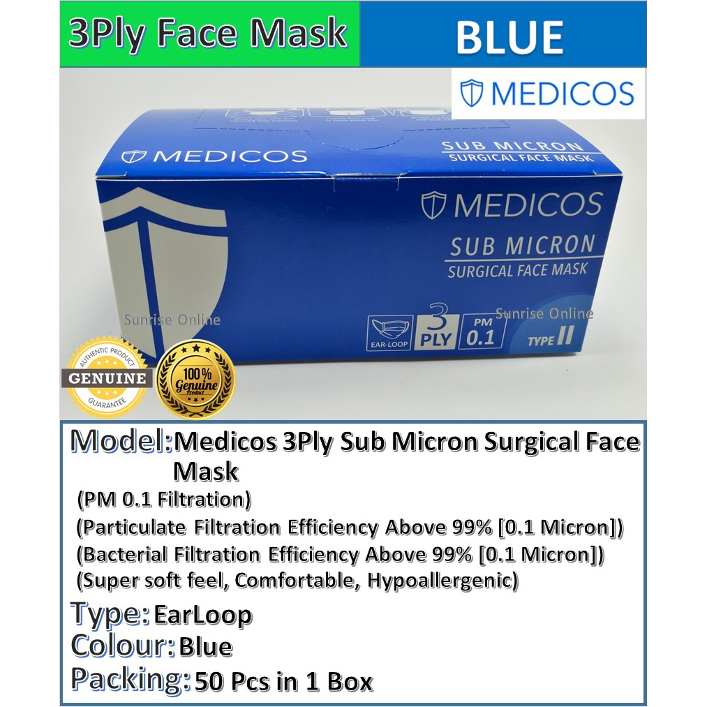 Medicos 1box Feel 3 ear Quality Mask Soft 50pcs Face Surgical - Loop Colour Ply Super Sub Blue Micron good