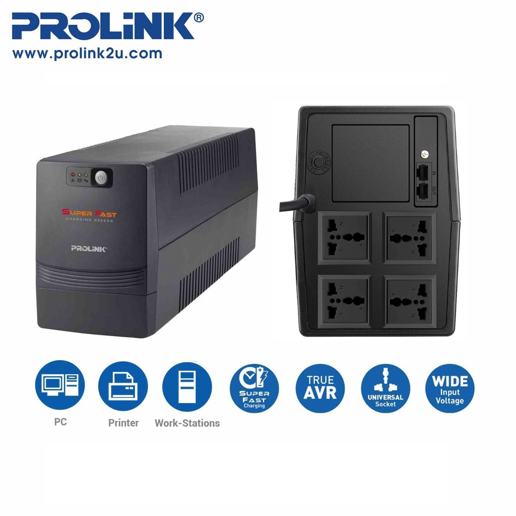 PROLiNK 1200VA Super-Fast Charging UPS with AVR 4x Universal Output Sockets PRO1201SFC