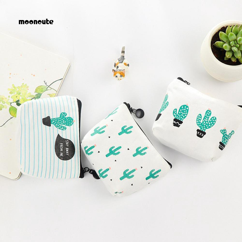 2100056bb9d MOON_Green Cactus Print Canvas Coin Purse Mini Card Holder Zipper Pouch  Wallet