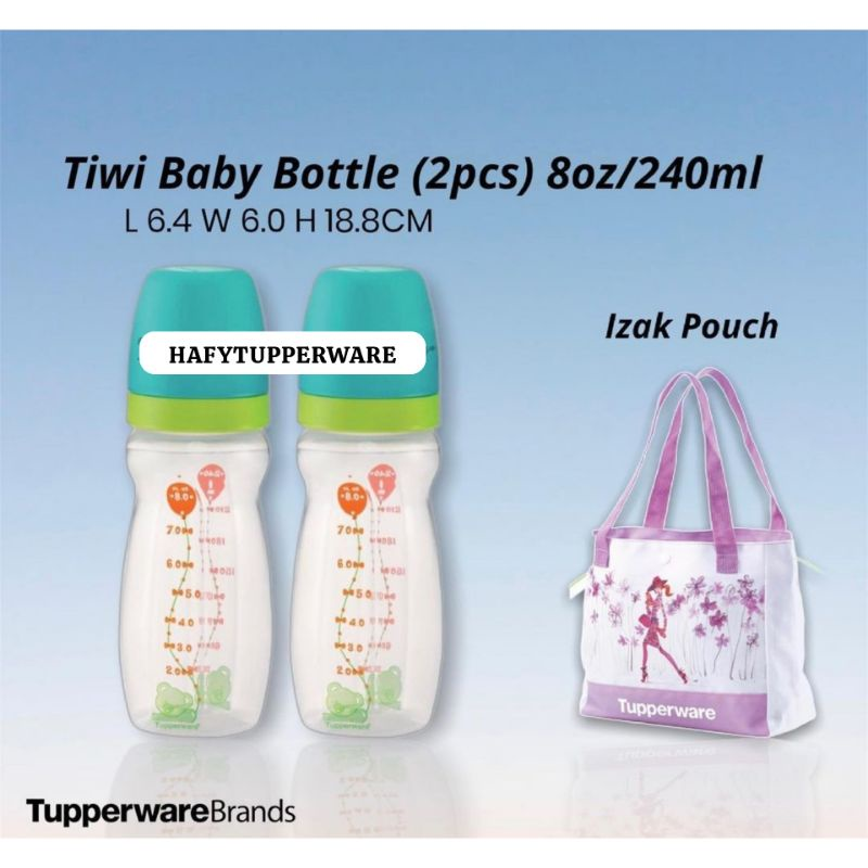 🔥READY STOCK🔥TUPPERWARE BABY BOTTLE Tiwi Baby Bottle 8oz/Botol Susu Budak/Multiflow Teat (1) / Single Flow Teat (2)