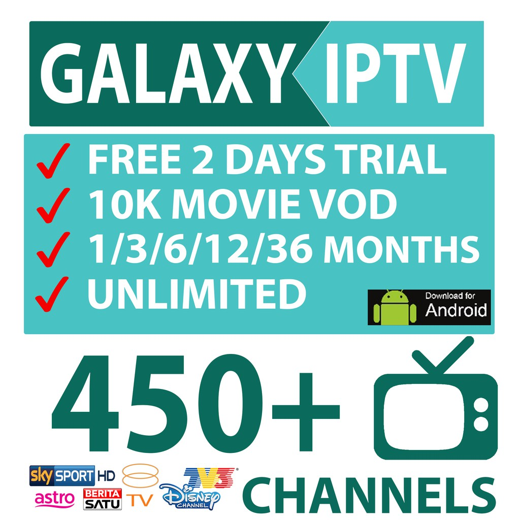 1 DAY TRIAL !!! FAST ACTIVATION !!! GALAXY IPTV BOX ASIA 450++ CHANNELS  8000++ MOVIE VOD !!!