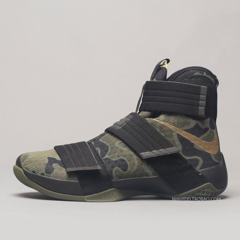 newest baa0e 7f0d5 100% original zhess Nike Lebron soldier 10 James Warrior Black Green  Camouflagus