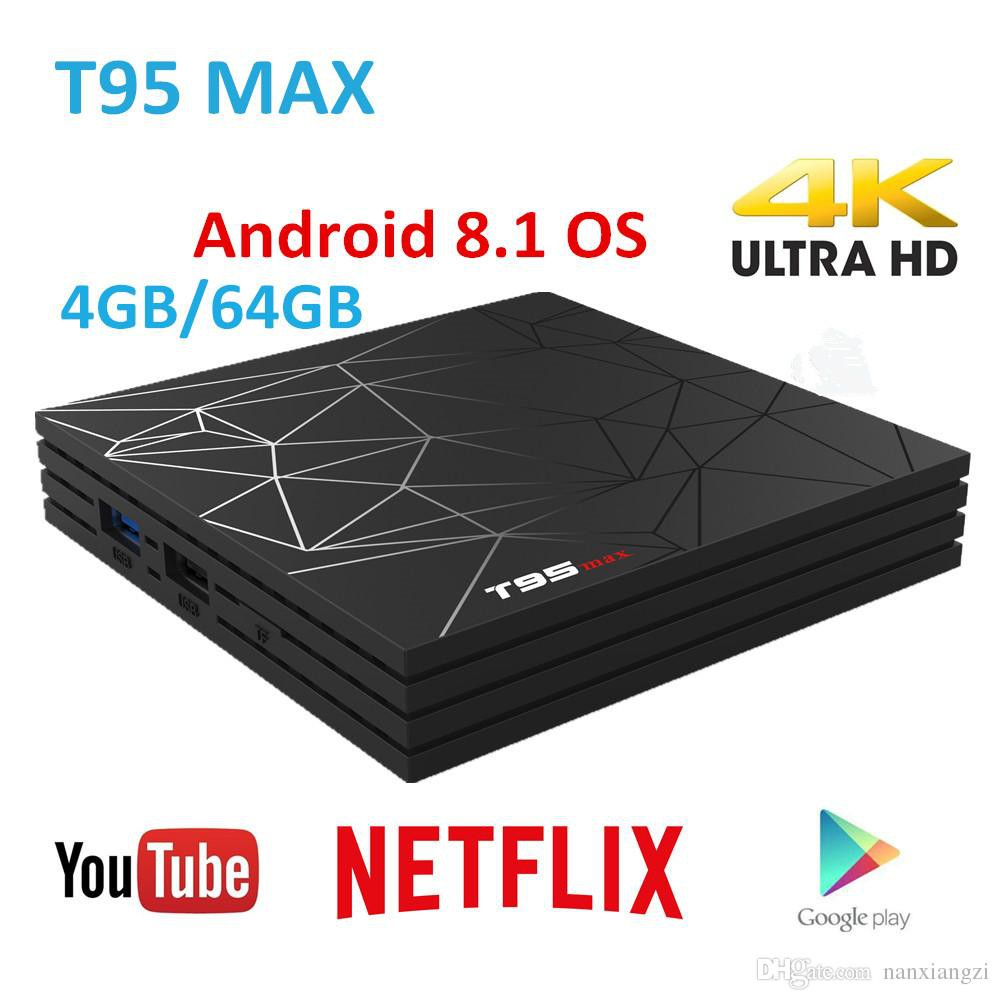 T95MAX 4+64G 6K Android 9.0 Pie Smart TV BOX Quad Core USB 3.0 MINI PC WIFI 3D
