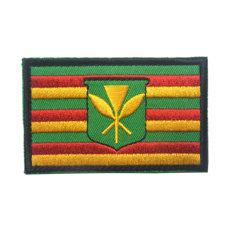 Iron on Kanaka Maoli Hawaii Flag Patch Hawaiian Tradition