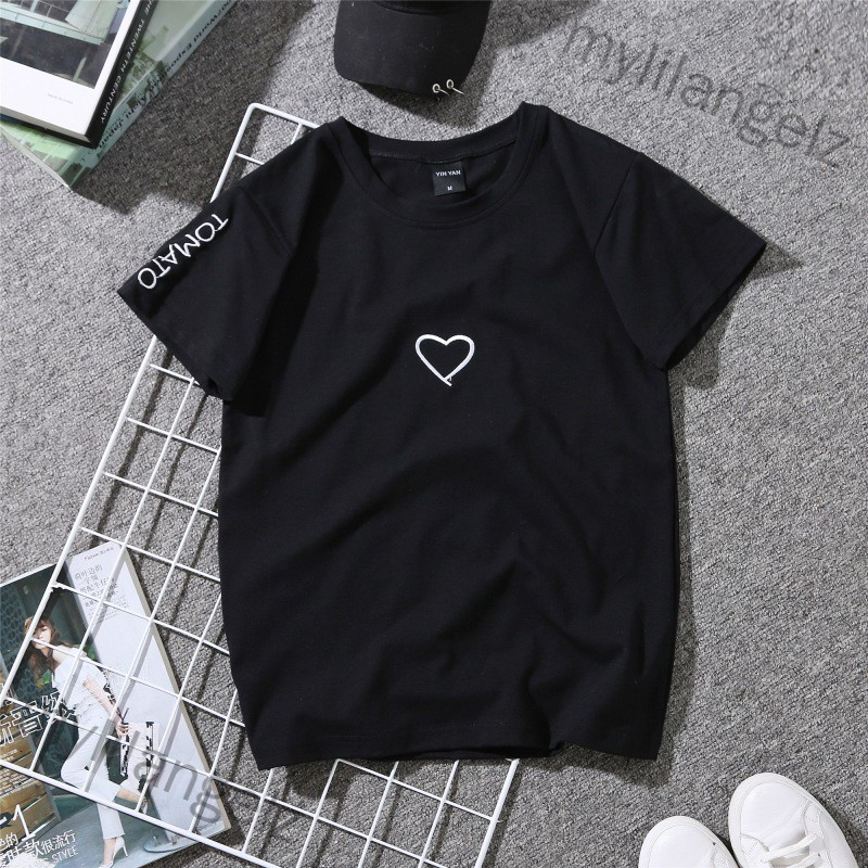 Mylilangelz Unisex Lovers Simple Short Sleeve Embroidered Love Shape T-shirt