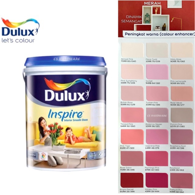 5 Litre ICI DULUX Inspire Interior Smooth Sheen Paints (Reds)
