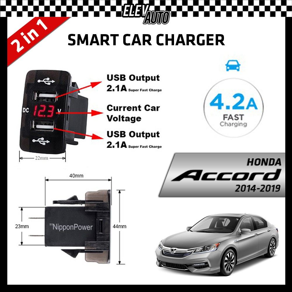 DUAL USB Built-In Smart Car Charger with Voltage Display Honda Accord 2014-2019