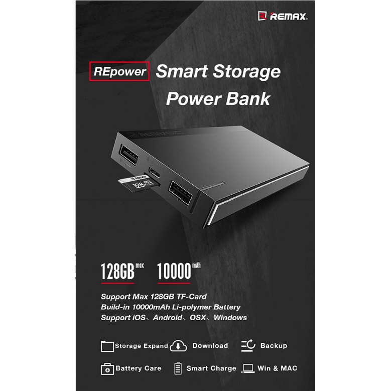 Sealed Original Remax REPOWER 2in1 Portable Power Bank 10000mAh + Hard Drive Capability up to 128GB RPP-58 [CLEARANCE]
