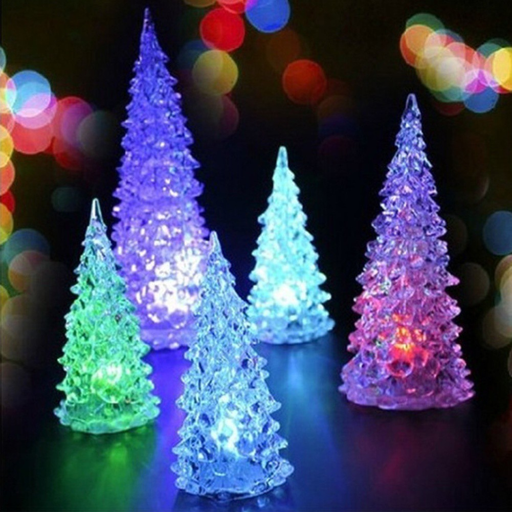 Christmas Tree Night Lamp Ice Crystal Colorful Changing LED Desk Table Light