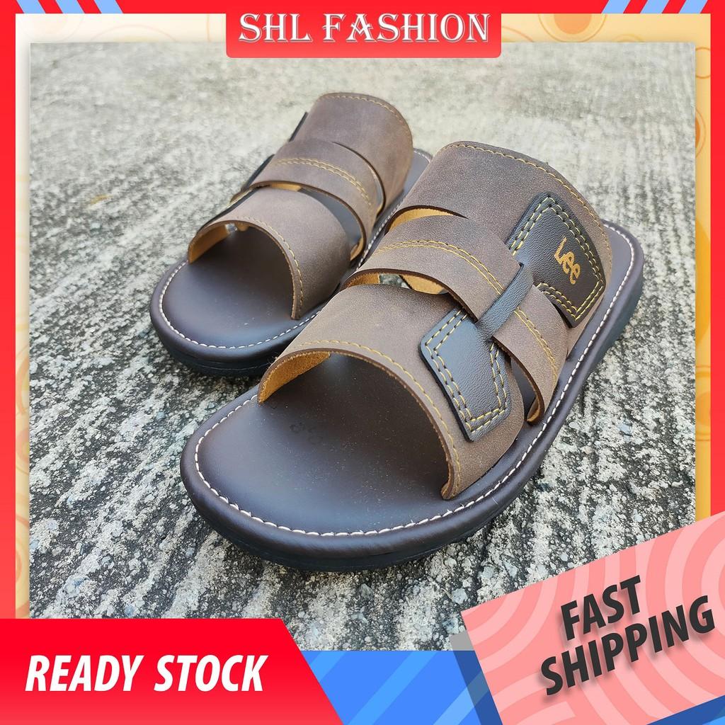 SHL Men PU Leather Sandal Advanced Selipar Kasut Lelaki size 40-44【男士拖鞋】- 837
