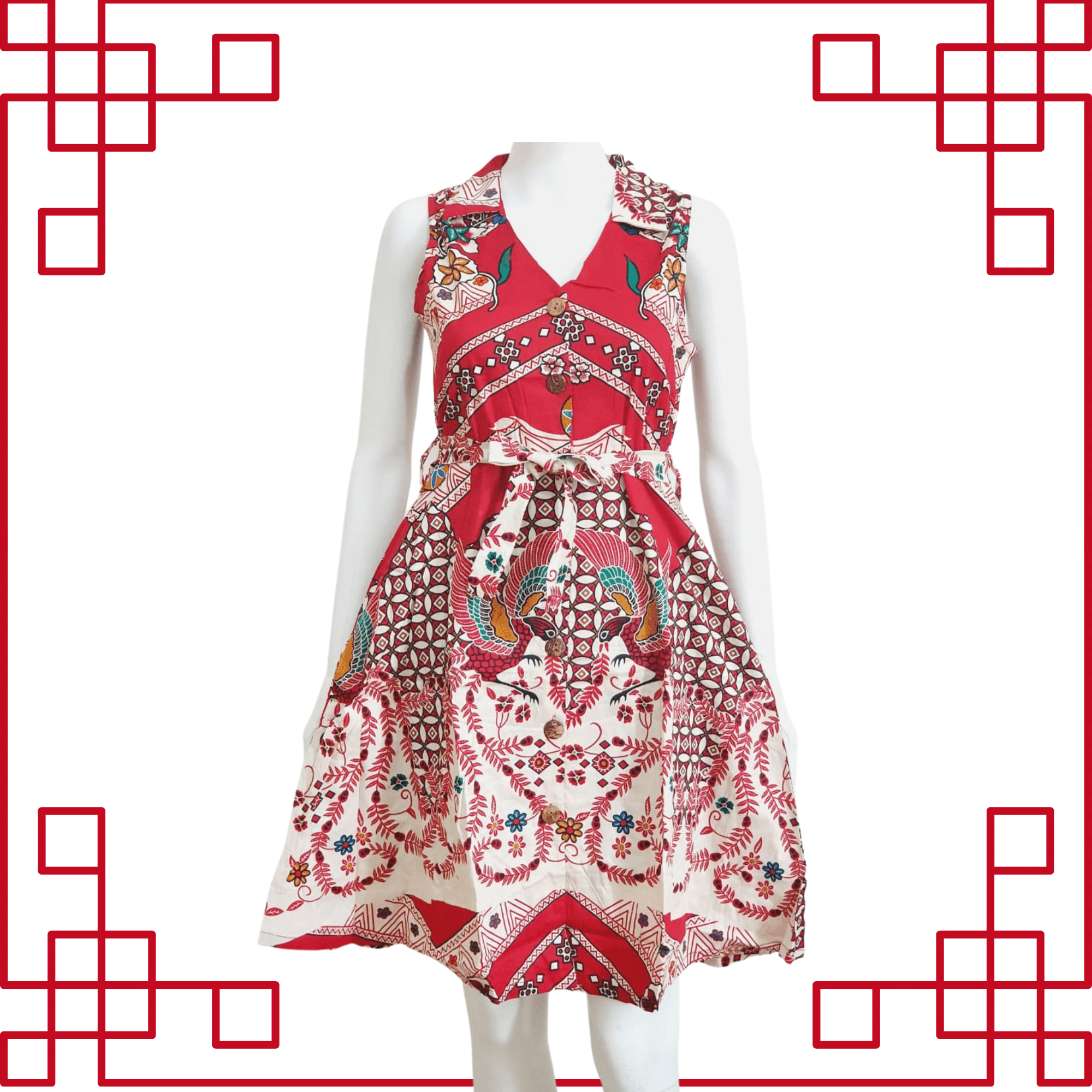 Cheongsam Batik Red Dress Sleeveless 723C
