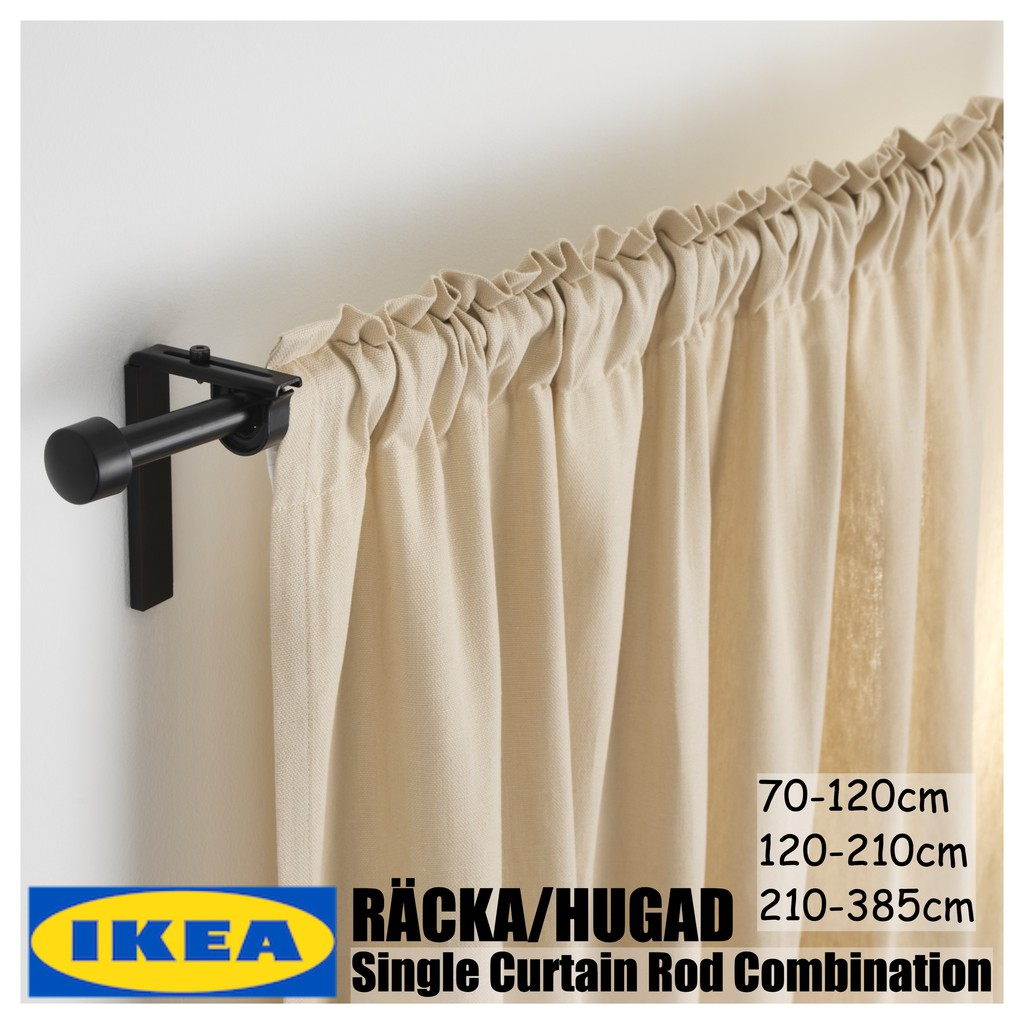 Ikea Set Langsir Racka Hugad Single Curtain Rod Combination Black White