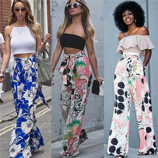 aa49be970a2e4a Women Floral Wide Leg Pants Loose Boho Harems Straight Leg Long Palazzo  Trousers | Shopee Malaysia