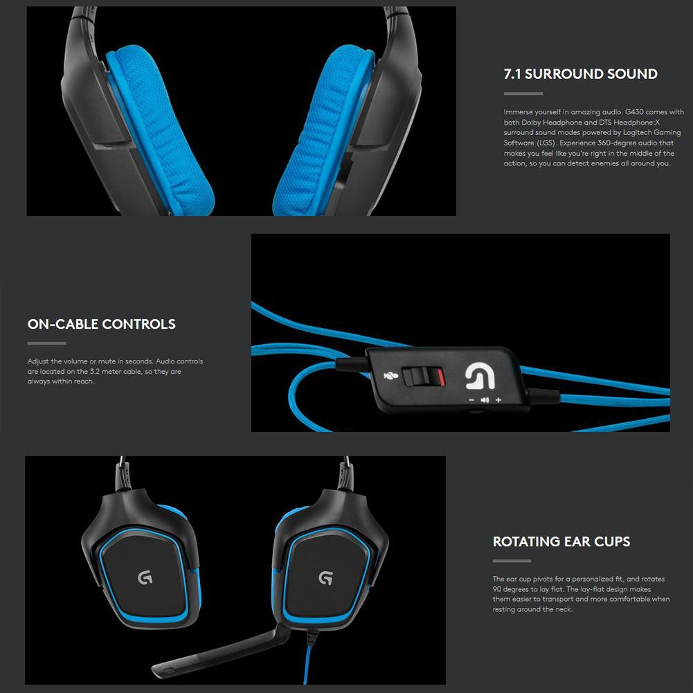 Logitech G430 7 1 Surround Gaming Headset Headphones with