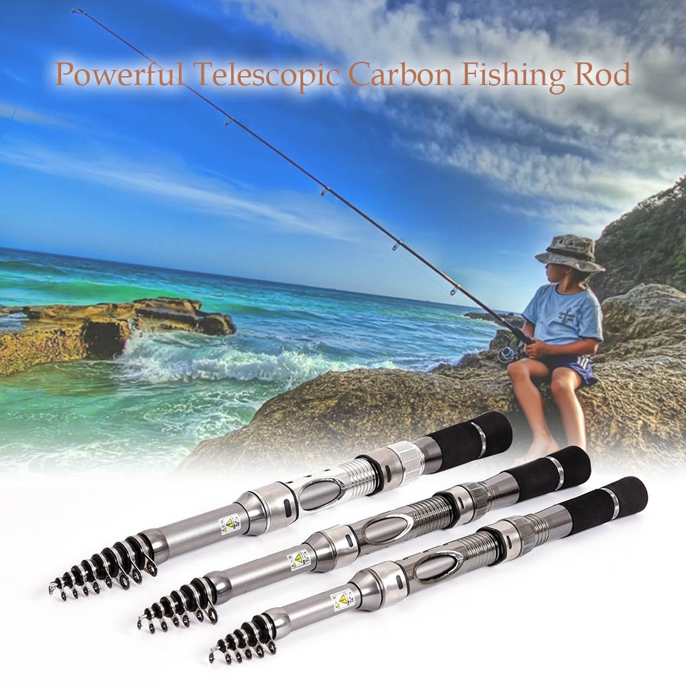 Carbon Fiber Telescopic Fishing Rod Retractable Travel Spinning Fishing Pole | Shopee Malaysia