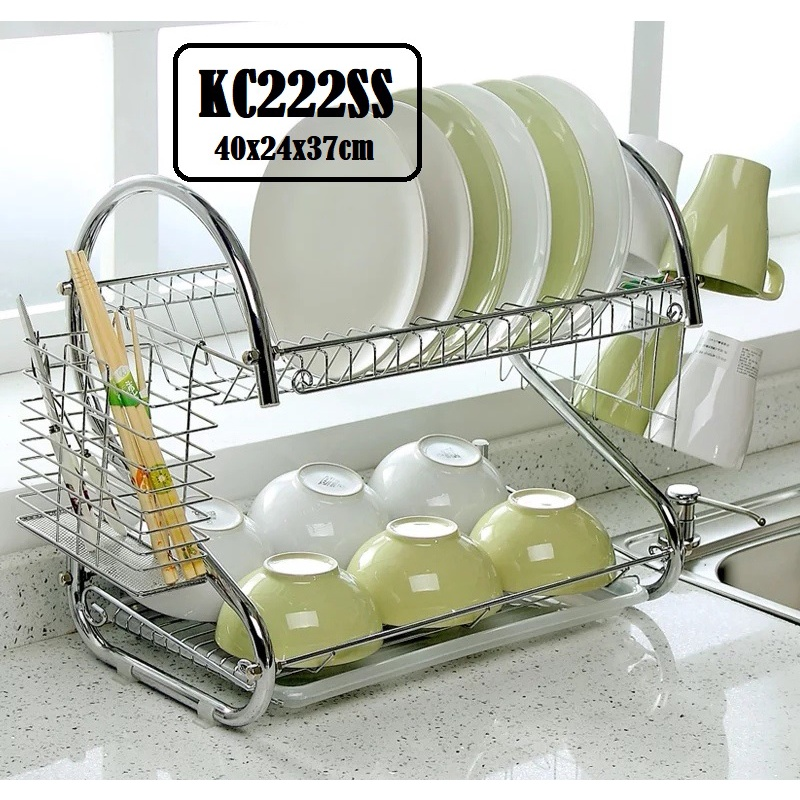 [ READY STOCK ]  S Shaped Dish Rack Set 2 Tier Chrome Stainless Plate Dish Bowl Cup Tray Kitchen Jualan Murah Storage Box