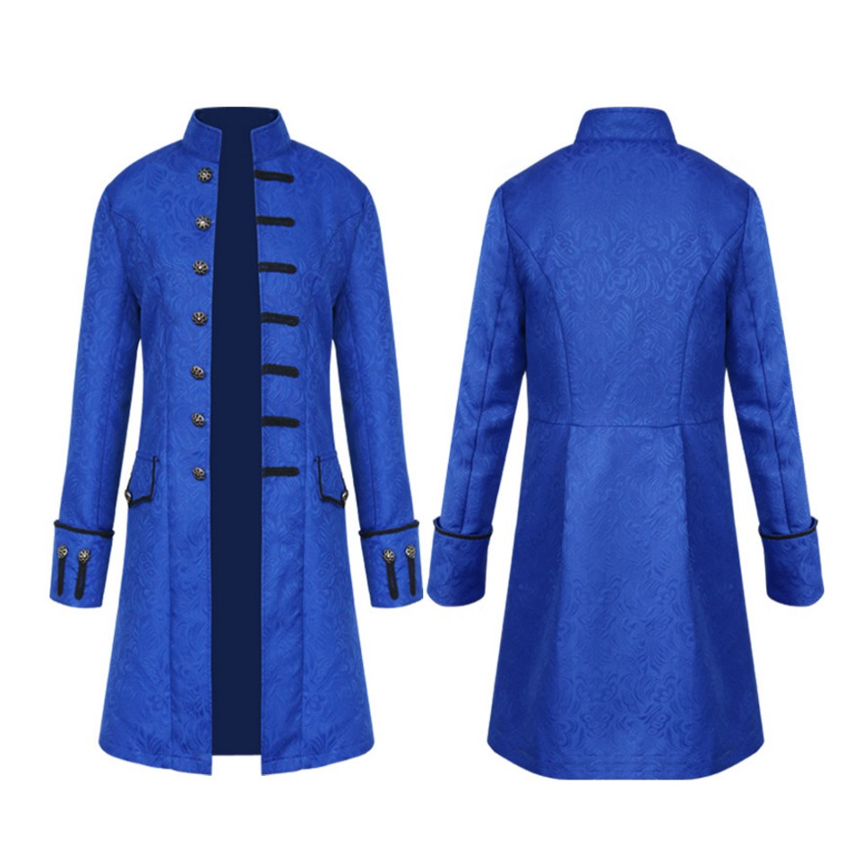 Men/'s Medieval Classic Buckle Leather Trench Coat Jacket Solid Collar dust coat