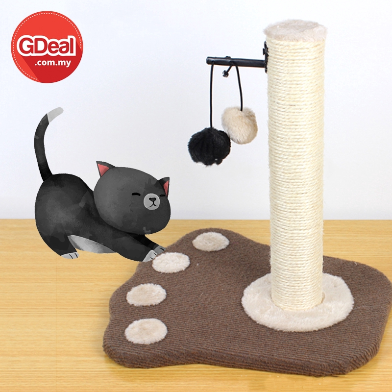 GDeal Cat Climbing Frame Hemp Rope Sheet With Fluffy Ball Wearable And Scratchable Mainan Kucing ماءينن كوچيڠ