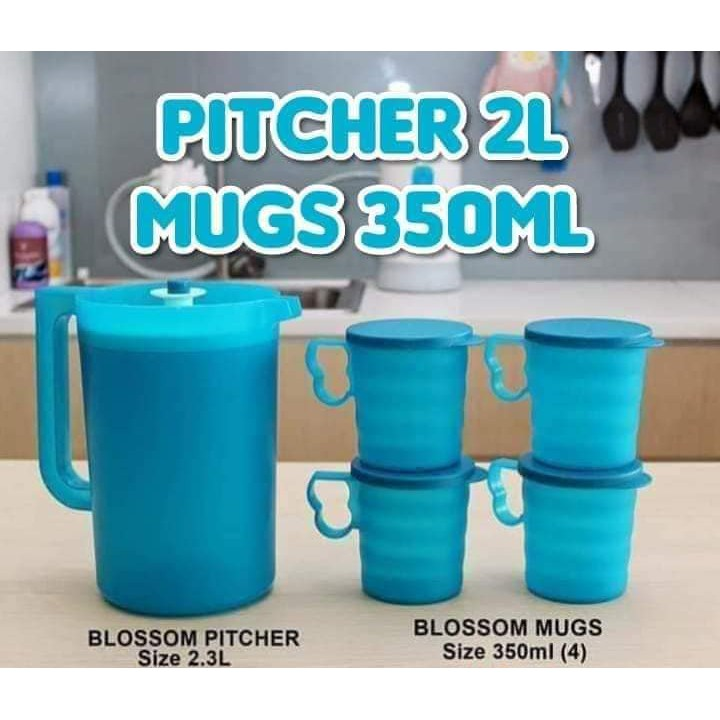 Tupperware Blossom Pitcher 2L | Blossom Mugs & Seals 350ml | Jug Cawan Mug Tumbler