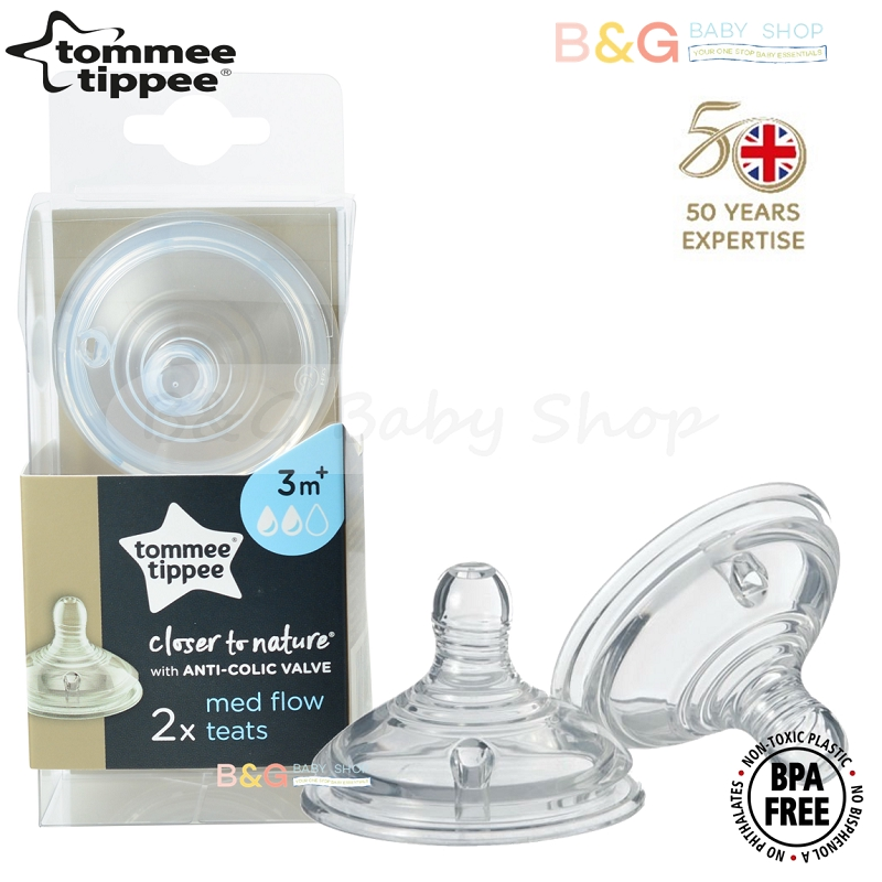 M  Teats 2 Pack Anti Colic Bottle Tommee Tippee Closer to Nature Medium Flow 3