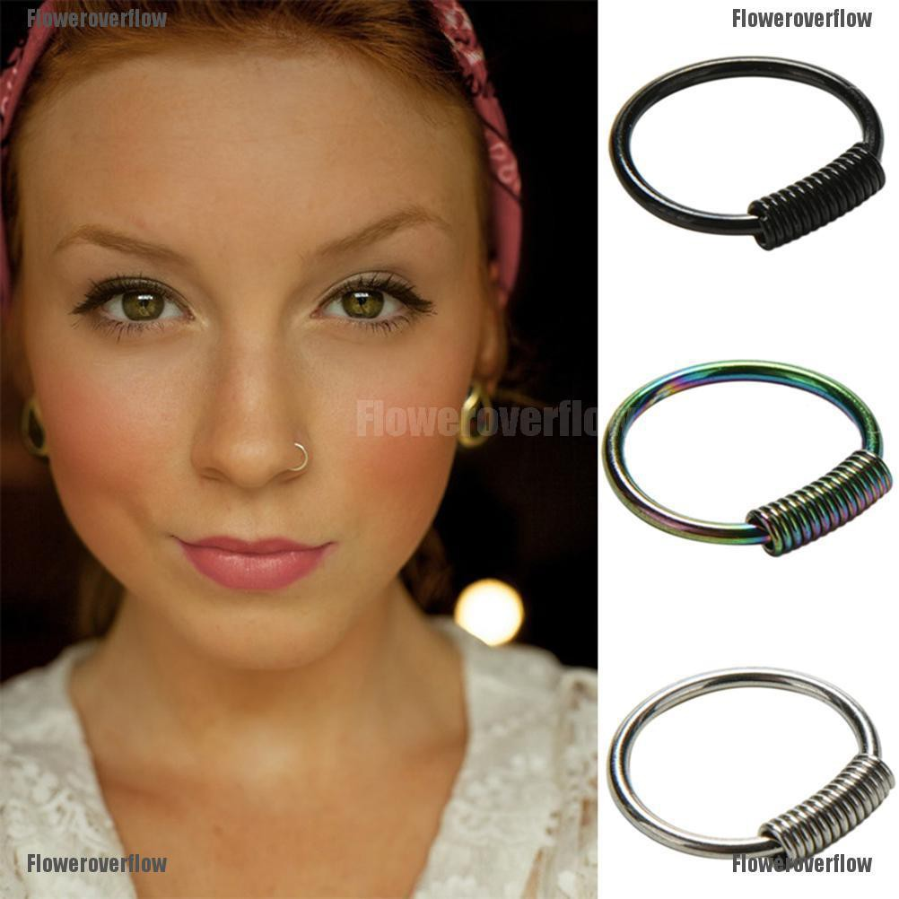 Frf 1pc Stainless Steel Nose Ring Ear Cartilage Hoop Ball Stud
