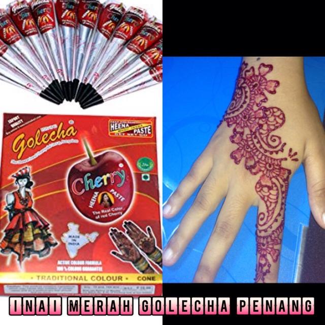 Inai Golecha Red Cherry Henna Cone 1pcs Cone Shopee Malaysia