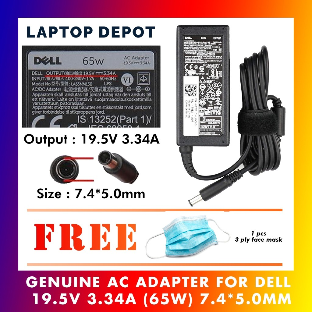 New Genuine Dell Inspiron Latitude 65 Watt 19.5V 3.34A AC Adapter With Cord JNKWD