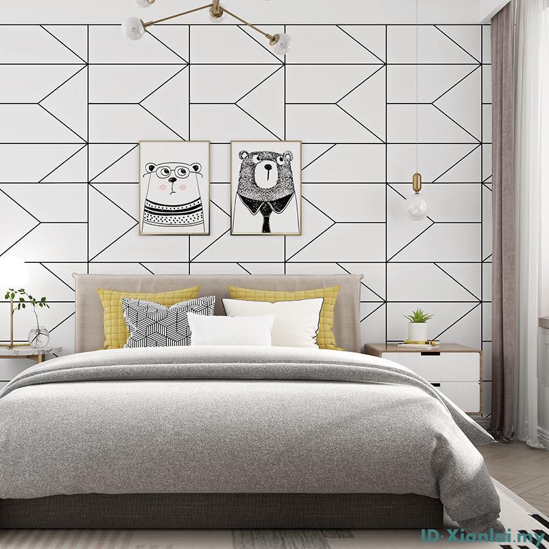 10m Modern Minimalist Geometric Pattern Non Woven Wallpaper Bedroom Living Room Sfhs Org