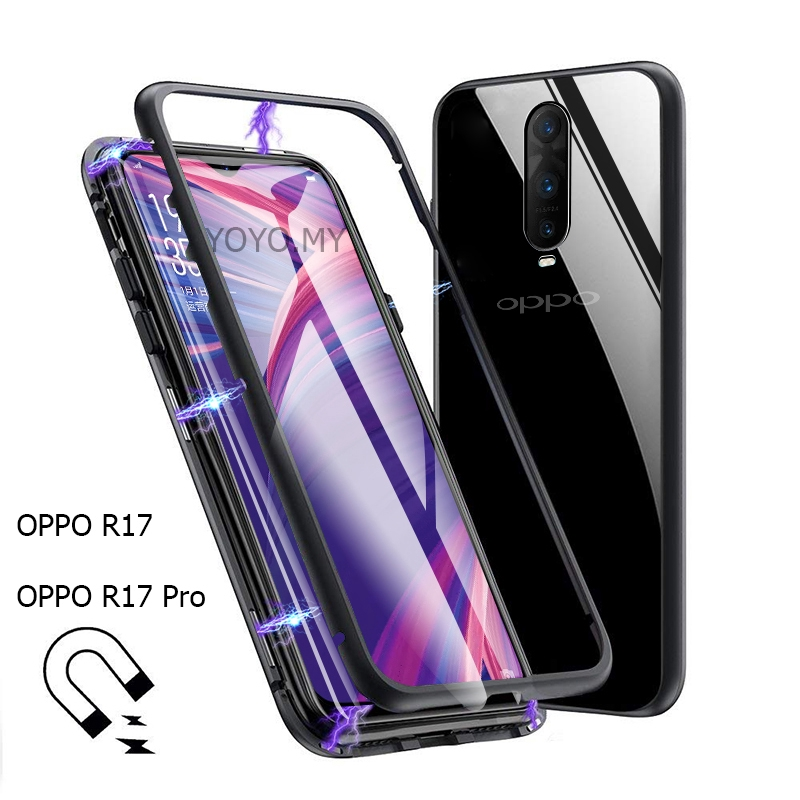 finest selection 98251 98204 Casing OPPO R17 / R17 Pro Case Transparent Hard Metal Magnetic Glass Cover