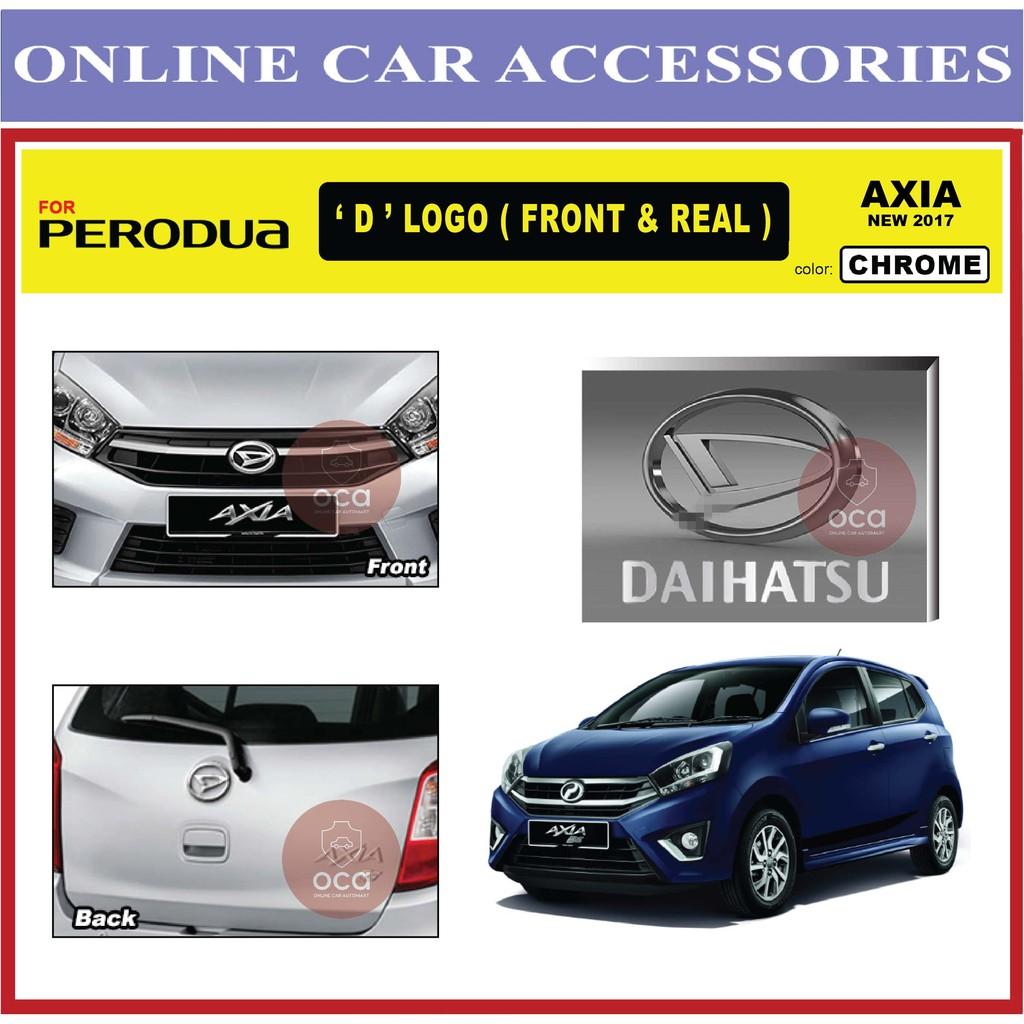 PERODUA AXIA 2017 Front and Rear Convert Daihatsu Chrome Black ABS Logo Emblem (2pcs)