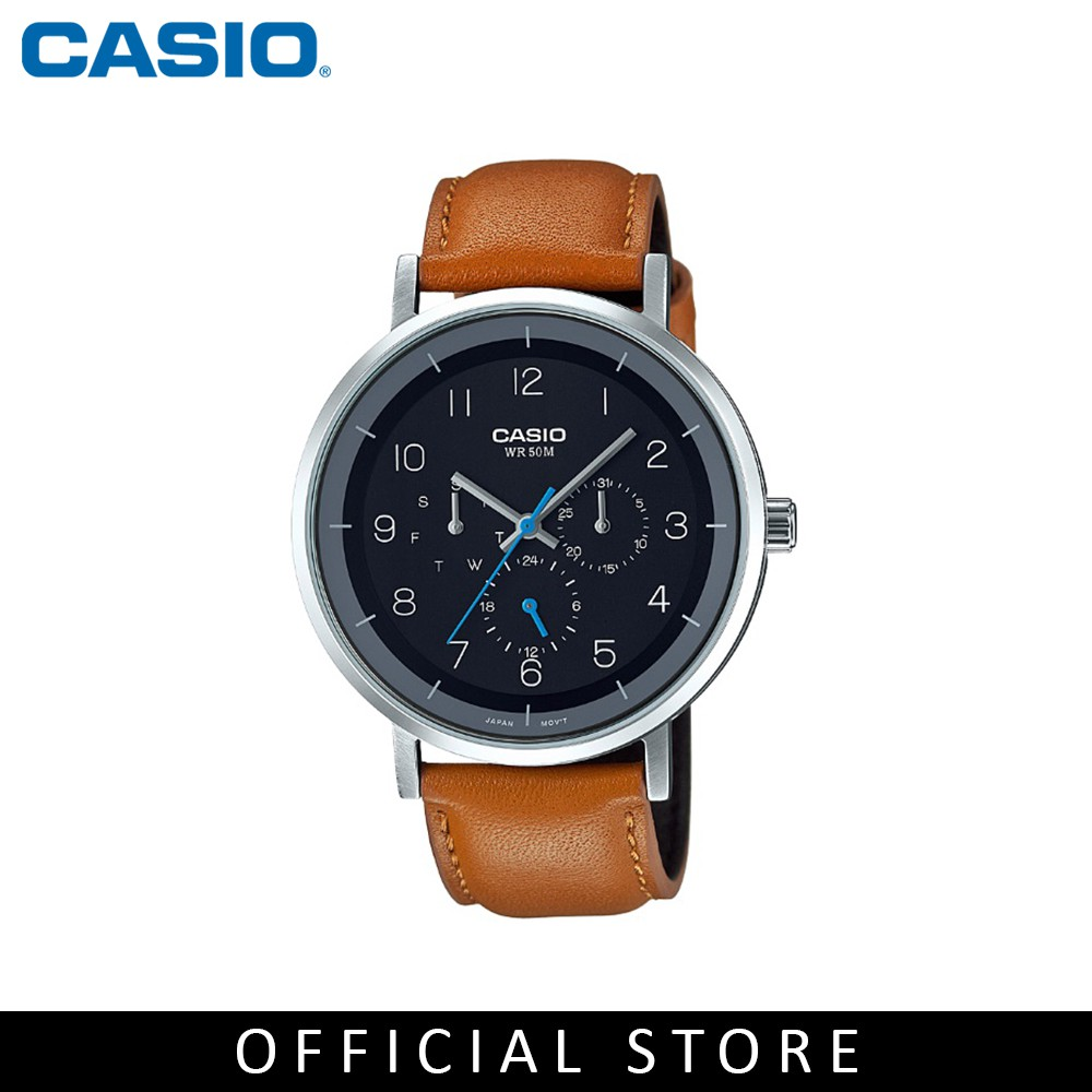 Casio General Mtp E314l 1b Brown Leather Band Men Watch Shopee Jam Tangan Standard Ae 1200wh 1bv Malaysia