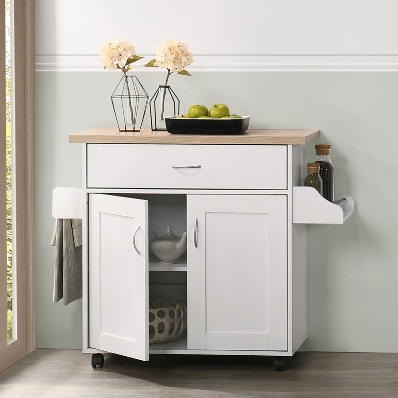 Furniture Direct wooden kitchen cart trolley with caster wine storage towel rack