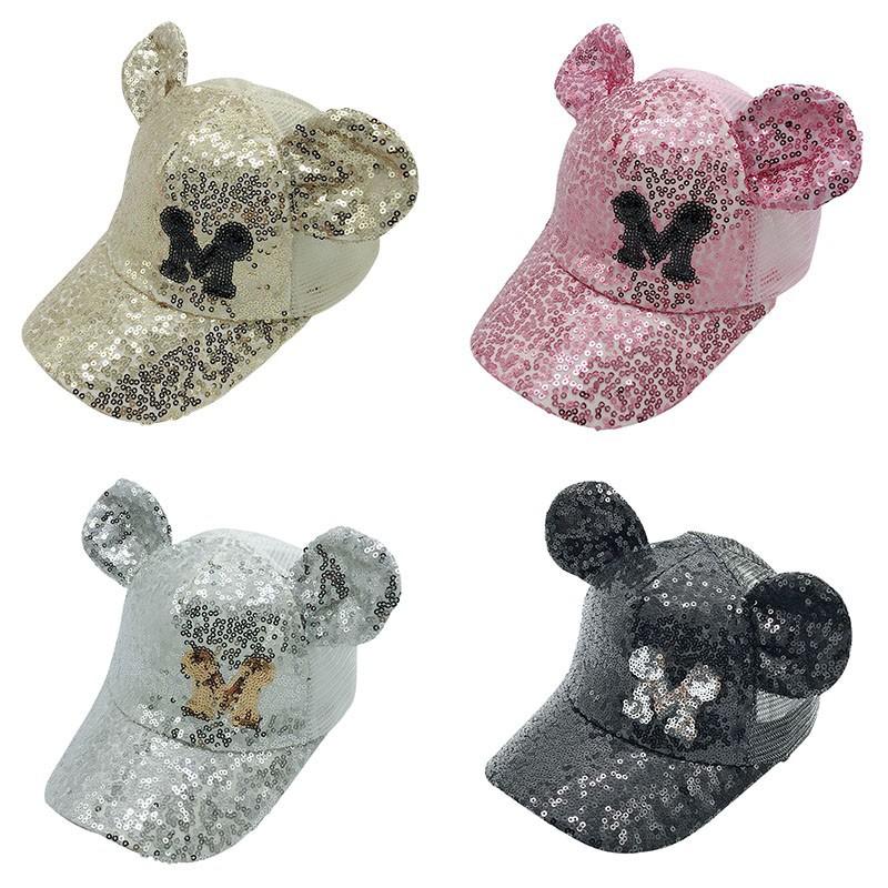 UK Mickey Mouse Mesh Bowknot Baseball Cap Kids Girls Hip Hop Snapback Summer Hat