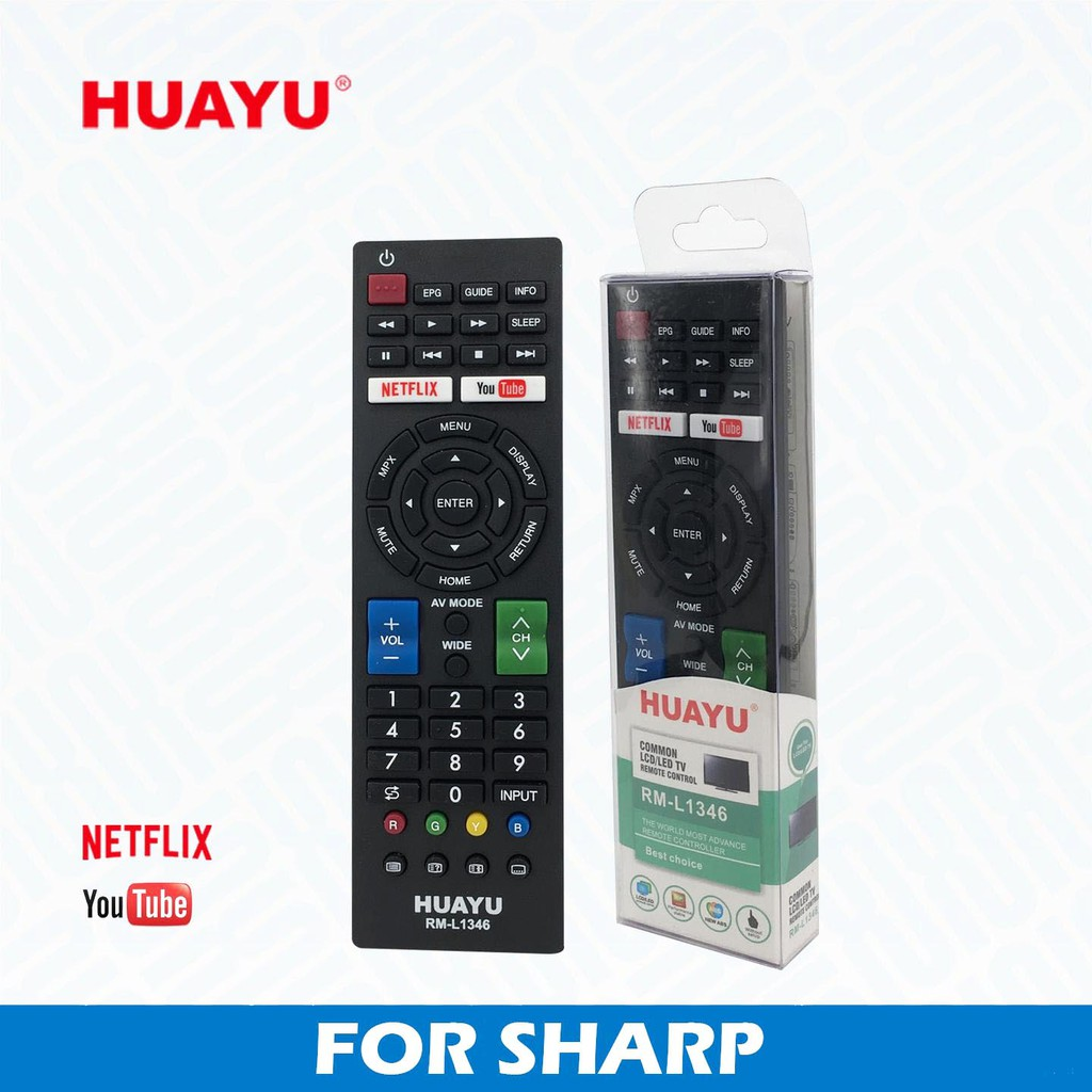 HUAYU RM-L1346 Remote Control FOR SHARP SMART 3D NETFLIX TV LED/LCD _3106036