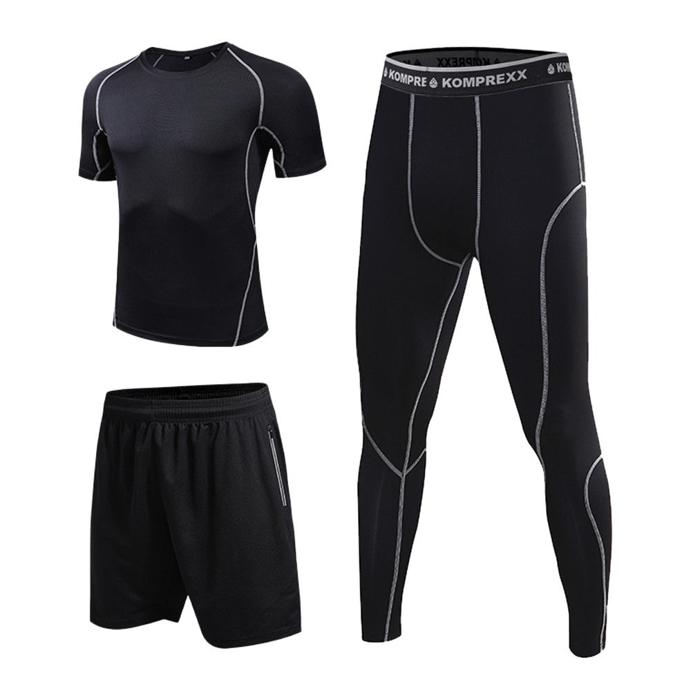 Men/'s Long Sleeve Compression Quick Dry Sports Top T-Shirts and Pants Tights