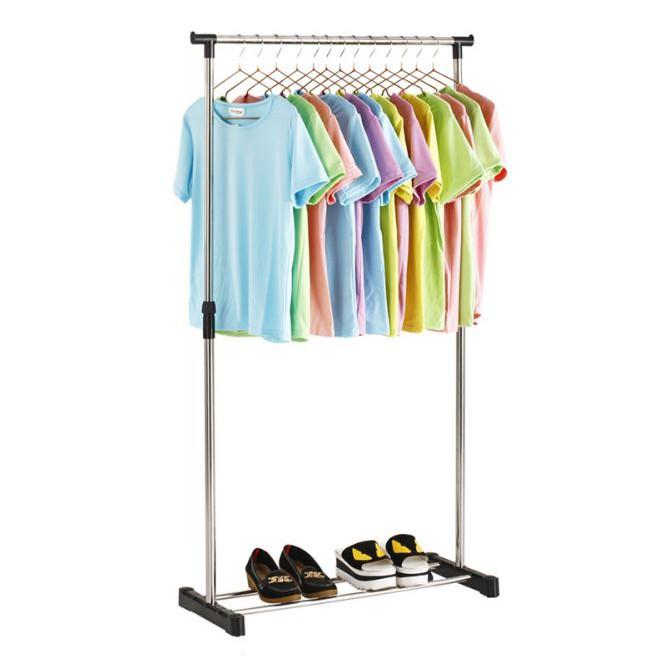 Adjustable Stainless Steel Single Pole Garment Rack