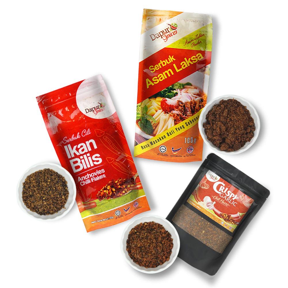 Asam Laksa Powder 1 + Garlic Chili Flakes 1 + Ikan Bilis Chili Flakes 1