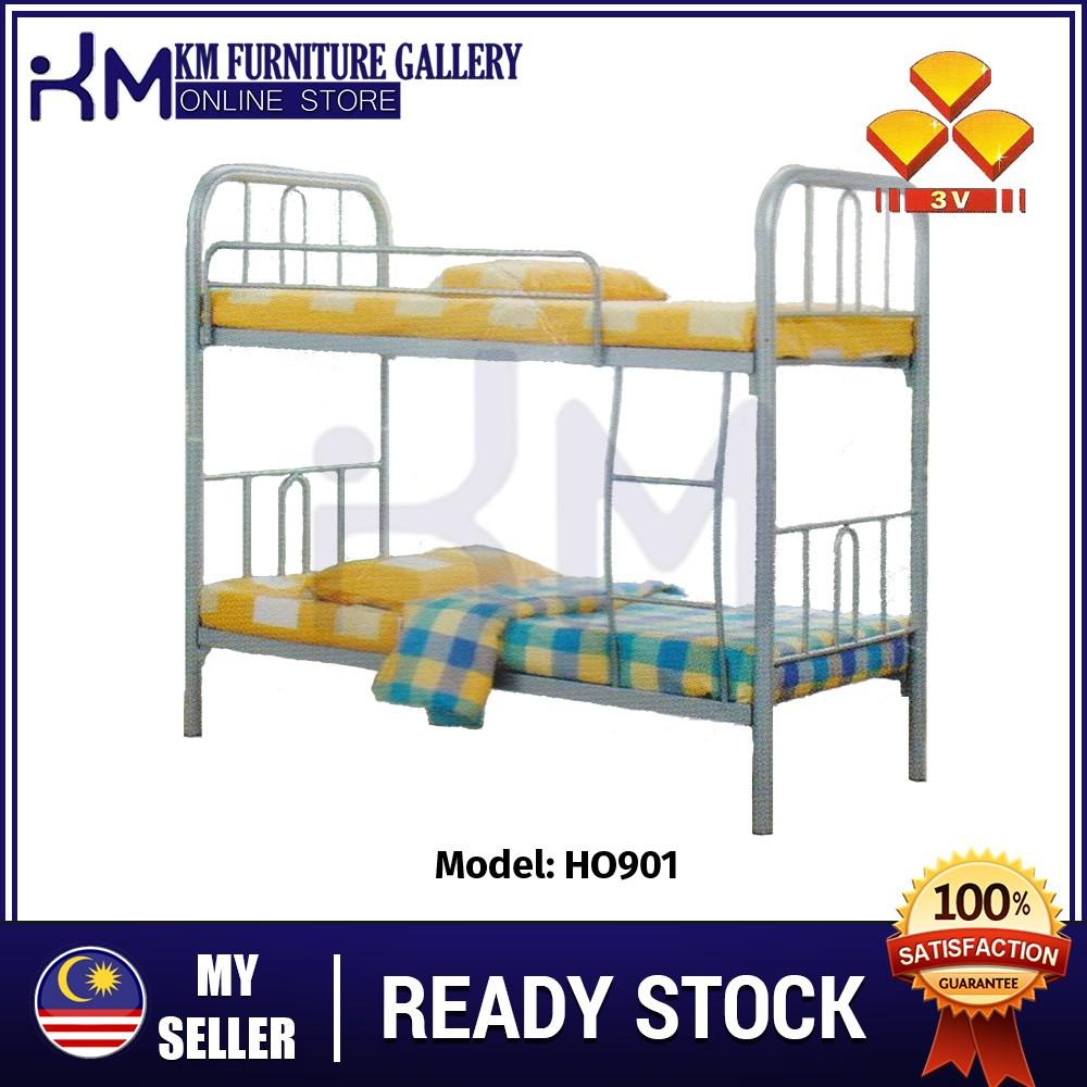 Km Furniture 3v Katil 2 Tingkat Besi Ho901 Single Double Decker Metal Bingkai Katil 2 Tingkat Shopee Malaysia