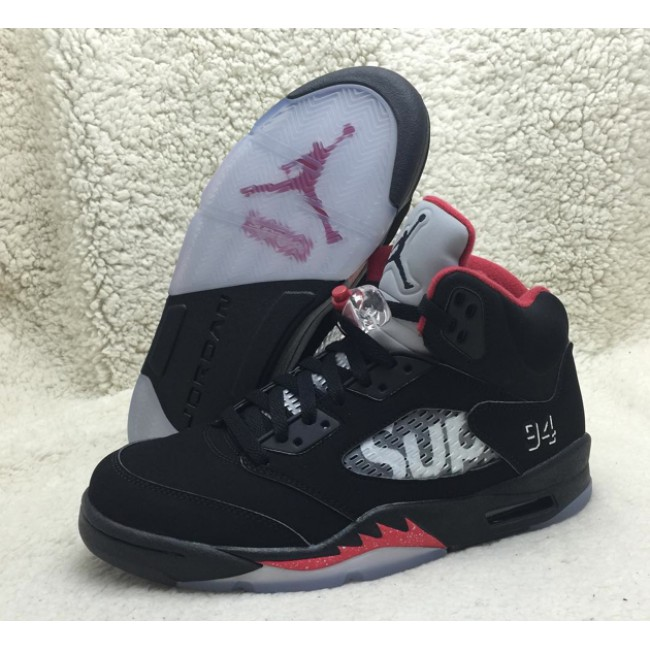 "best service 0e2d8 8b35c Supreme x Air Jordan 5 ""Black"" SUP 824371-001 nike aj5 basketball men shoes  ori"