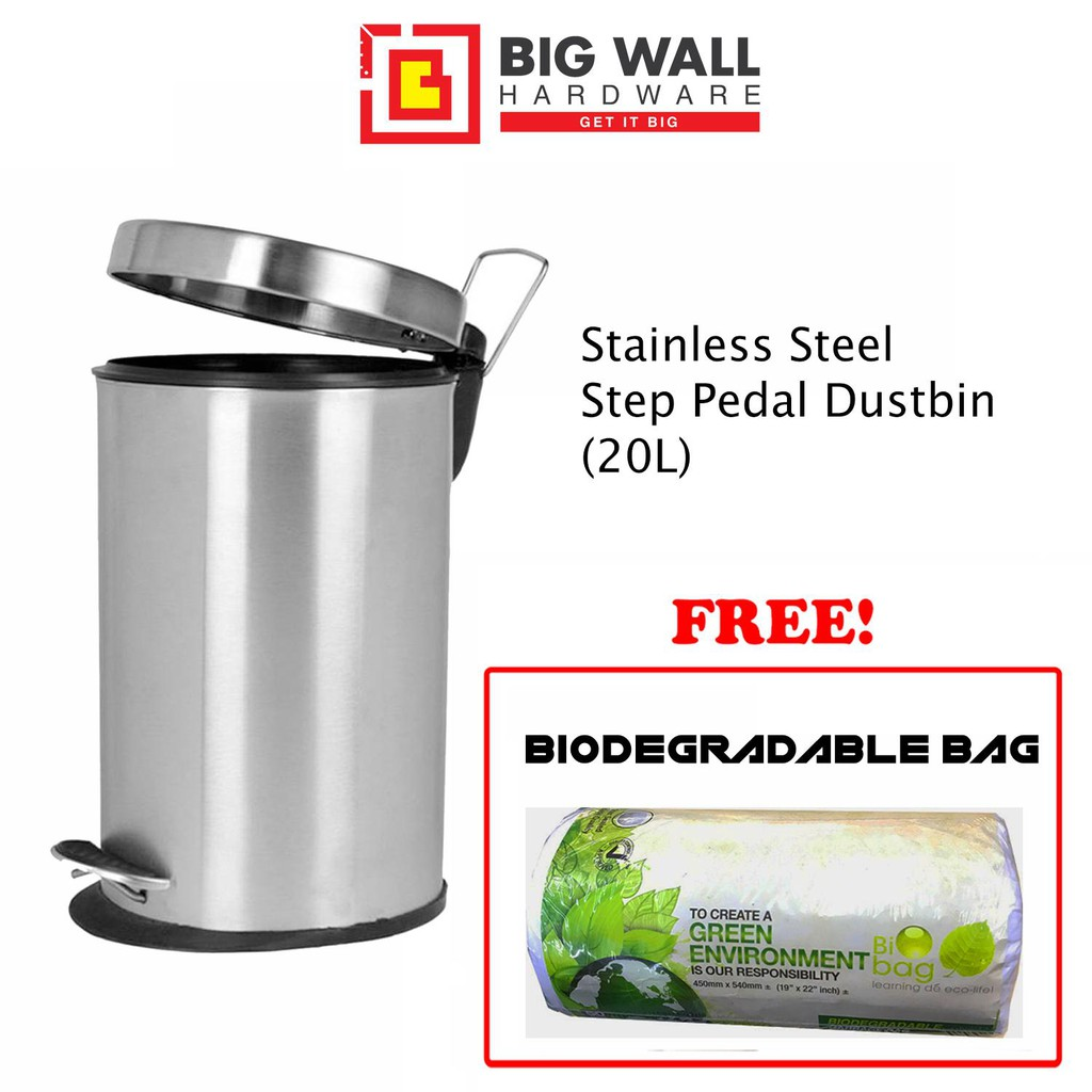 Step Pedal Stainless Steel Dustbin SY-6420 20L Grade SUS 401 & Biodegradable Bag (Tong Sampah)