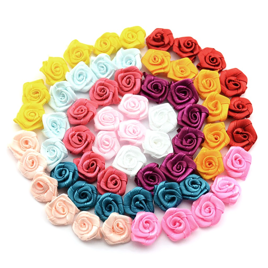 100x Mini Satin Ribbon Roses Flowers Bow Wedding Decor Appliques Sewing Crafts
