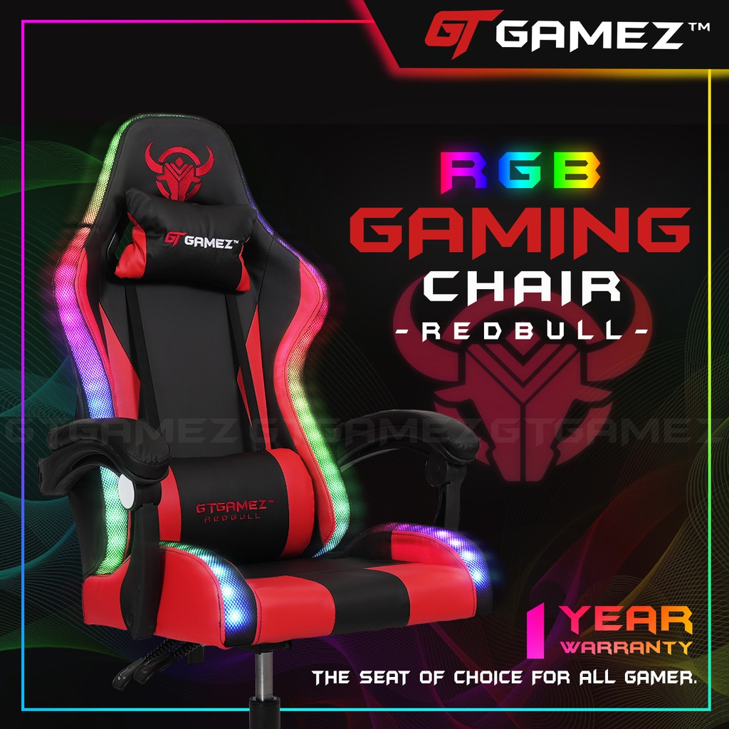 (Ready Stock) GTGAMEZ LED Lighting Gaming Chair with RGB / Ergonomic Backrest / Height Adjustment + Pillows  - GMZ-GC-YG-721RD-LED