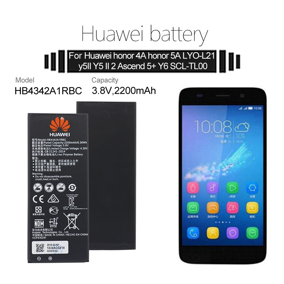 Hua Wei Replacement Phone Battery HB4342A1RBC For Huawei y5II Y5 II 2  Ascend 5+