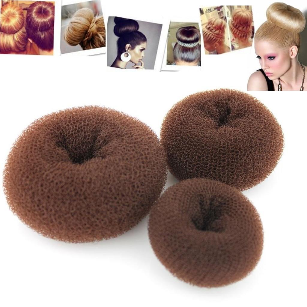3pcs Classy Brown Round Hairdressing Tool Hair Former Donut Doughnut Ring Styling Mesh Chignon Bun Maker