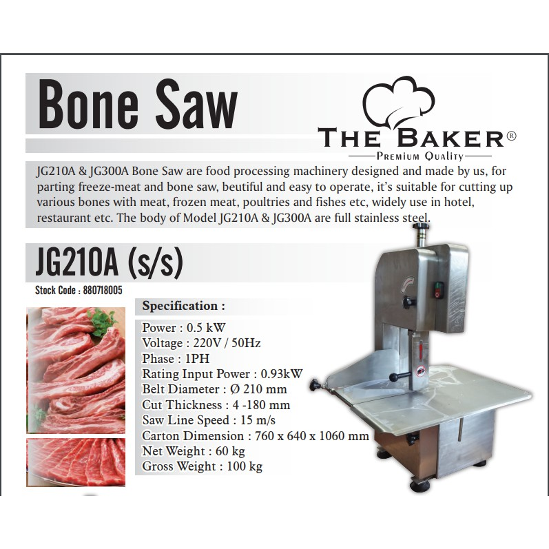 THE BAKER 500W 1500W JG210A JG300A STAINLESS STEEL BONE MEAT SAW TULANG CUTTER