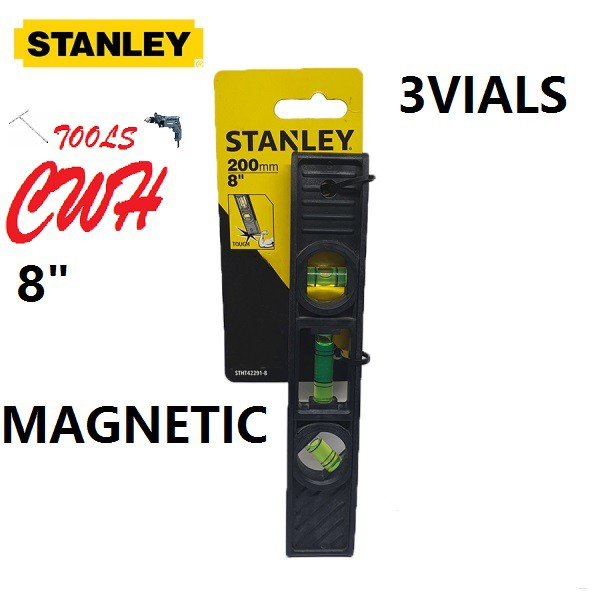 "STHT42291 8"" STANLEY MAGNETIC TORPEDO WATER LEVEL RULER BALANCE MEASURER MEASUREMENT 42-291 42291 STABILA ASAKI SENSUI"
