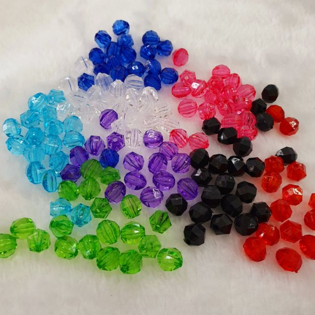 🧶🌹 Acrylic Beads Hexoganal Shape 6mm / 8mm (50 gram) 🧶🌹