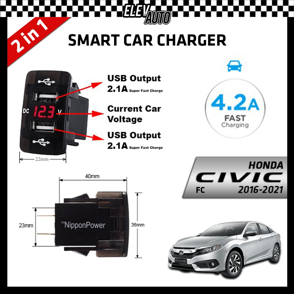 DUAL USB Built-In Smart Car Charger with Voltage Display Honda Civic FC 2016-2021
